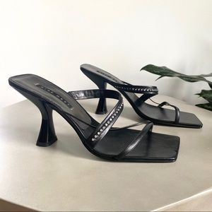 NINE WEST Strappy Square Toe Black Crystal Sandals